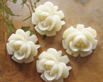 16mm - white rose cabochons - 8 pcs (CA823-C1)