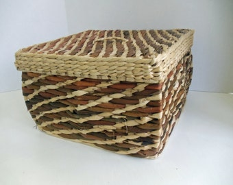 Covered and Lined Basket with Handle