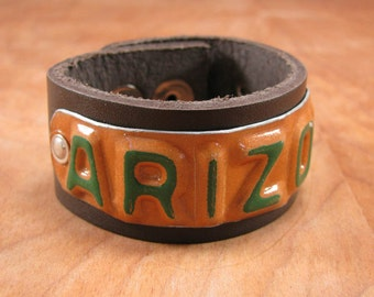 Upcycled License Plates - State of ARIZONA Upcycled License Plate - Dark Brown Leather License Plate Cuff - Industrial Style