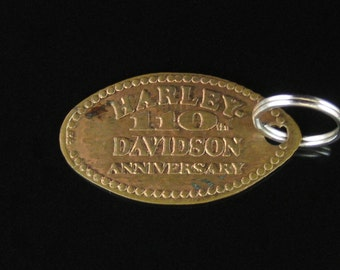Harley Davidson 110th Anniverary Elongated Indian Head Cent Reversible Key Chain