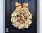 PERSONALIZED WREATHS, Wreaths, Wreath, Wedding Wreaths, Front Door Wreaths, Hydrangea Wreaths,Monogram Letter Wreaths, Wedding Monograms