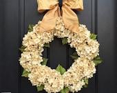Fall Outdoor Wreaths, Wedding Hydrangea Wreaths, Fall Wedding Wreaths, Neutral Colored Wreaths,Champagne for Weddings,Premium Ribbon Wreaths