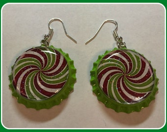 Peppermint Swirl Christmas Earrings Unique Custom Made Themed and Sports Jewelry Red and Green Christmas earrings