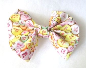 Conversation Hearts Patterned Fabric Hair Bow