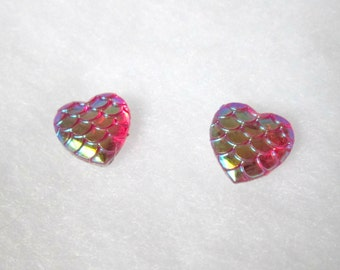 Hot Pink Iridescent Mermaid Scale Earrings