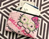 zipper wallet coin pouch  --- hello kitty kawaii mathematics pink grey