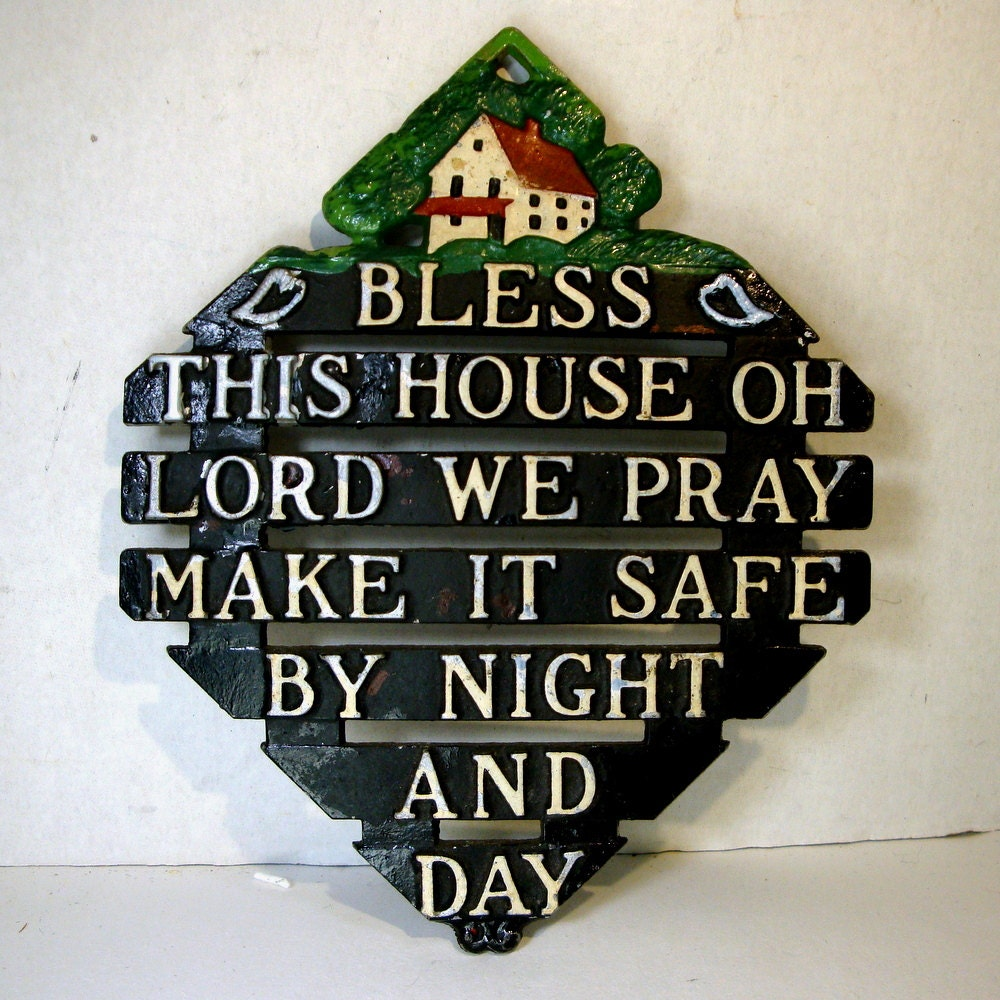 Vintage Cast Metal Trivet..Bless This House By