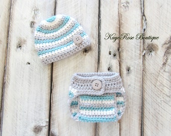 Preemie Newborn Baby Boy Hat and Diaper Cover Set Gray Teal and White Stripes
