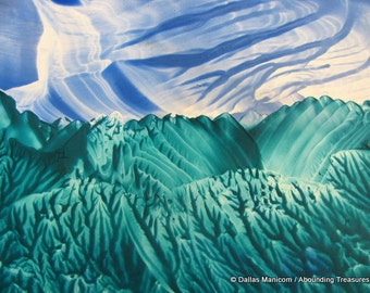5X7 Blue & Teal Fantasy Landscape Encaustic (Wax) Original Absract Painting. Textured Art. Decor. SFA (Small Format Art)