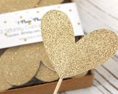 Jumbo Gold or Silver Glitter Heart Cupcake Toppers - Set of 12