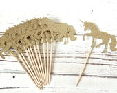 Gold Glitter Unicorn Cupcake Toppers - Set of 12