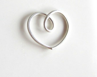 Single Silver Heart Earring Free Shipping, Rook Helix Cartilage, One (1) Silver Heart Earring