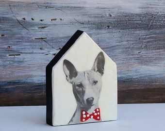 Dapper DOG - Dog HOUSE Photo Painting Original Encaustic Mixed Media Painting