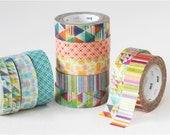 mt  deco - washi masking tape - 2015 Summer collection -  pool, stripes, vivid, pastel, triangles