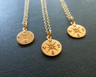 set of 4 bridesmaid gift, compass necklace, bridesmaid compass jewelry, silver, gold, golden bronze charm, going away gift