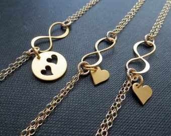 Mother daughter infinity bracelet sets, mother two daughters jewelry, christmas gifts for mom, gold heart cutout charm, mother 2 daughters