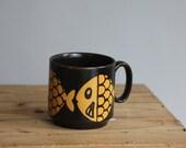 Vintage Fish Royal Alma Mug English Pottery Brown Yellow Retro