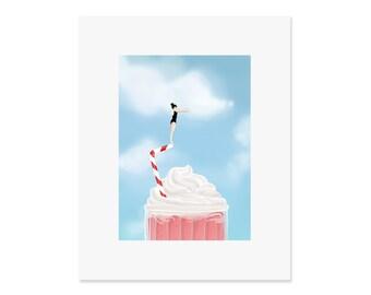 Milkshake Diver - 8x10 art print