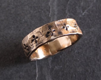 Rustic bronze band with small cross motif // rustic ring / rough ring / unisex ring / bronze ring / mens ring / medieval ring
