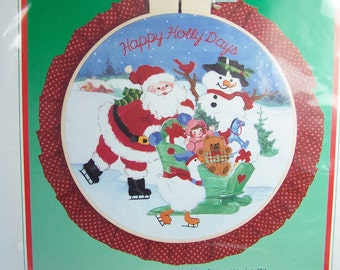 "Vintage Dimensions Crewel Kit, ""Happy Holly Days"" Christmas Hoop Craft Kit, Needlework Kit, Santa, Snowman, Sleigh Design"