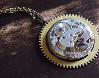 Gear Necklace Steampunk Jewelry Watch Movement Recycled Brass Industrial Round Pendant