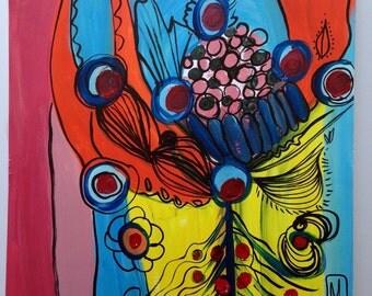 Art Print Lobster Bouquet maine artist nautical art
