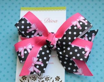 Black and Hot Pink Polka Dot Classic Diva Bow