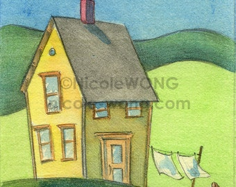 Original ACEO Painting -- Laundry outdoors