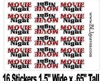 16 Movie Night Date Night Planner Stickers Calendar Stickers Scrapbook Stickers Day Planner Stickers PS006