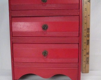 Antique Miniature Furniture - Red Three Drawer Dresser for Large Dolls or Display - 12 Inches Tall