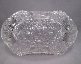 Antique Cut Glass Crystal Relish or Candy Dish - American Brilliant Period - Harvard & Daisy Pattern