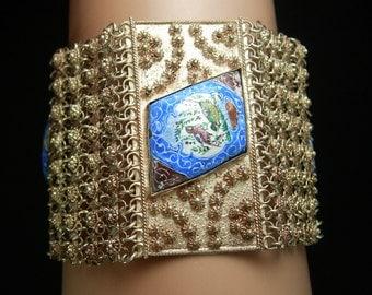 HUGE Persian Enamel Bracelet Tribal etruscan chain maille Hand wrought folk art silver blue Birds statement bracelet ooak