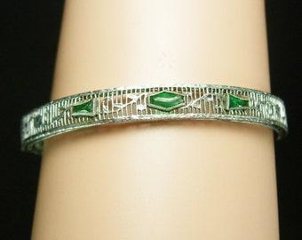 Vintage Art Deco Bracelet Green jeweled filigree bangle bracelet Great period piece silver slide bar hinged estate jewelry August birthday