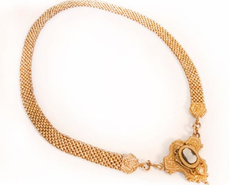 Antique Victorian necklace 1880's rolled gold Cameo mesh choker