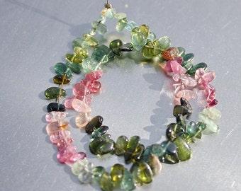 "Pink Green Blue Gem Watermelon Bio Tourmaline Smooth Small Free Form Briolette Drop Beads full 9"" strand"