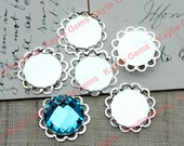 14mm Round Double Lace Edge Cup Settings for Cabochon Cab Bright Silver - 4pcs