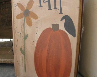 Primitive Fall Sunflower and Pumpkin Hand Painted Vintage Book GCC4707