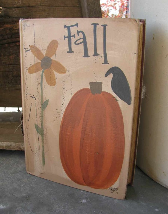 Primitive fall sunflower and pumpkin hand painted vintage book for Wood craft painting ideas