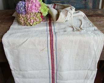 A 24:  antique handloomed RED and BLUE grain sack for pillows cushions runners 21.26wide