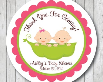Twin Peas in a Pod . Personalized Baby Shower Stickers, Labels or Tags