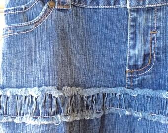 embellished blue denim mini skirt