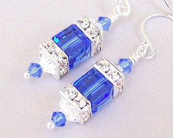 Sapphire crystal earrings, Swarovski sapphire blue crystal cube earrings, 8mm cube earrings, blue bridal jewelry, square crystal, gift