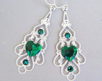 Green heart silver filigree earrings, gift for her, emerald hearts, green and silver with Swarovski emerald accents
