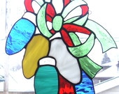 Stained Glass Multi Color Christmas Bulbs Window Holiday Decor Suncatcher Panel Ready to Ship