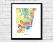 Jersey City, New Jersey Art Map Print.  Color Options and Size Options Available.  Map of Jersey City NJ
