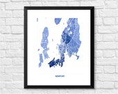 Newport RI Art Map Print.  Color Options and Size Options Available.  Map of Newport.