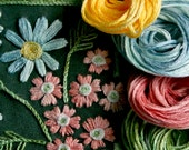 DIY Crewel Embroidery Kit Gift Pouch verbena and daisy flowers on forest green