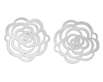 Small Filigree rose connector stainless steel hypoallergenic charms 2pcs (JF901)