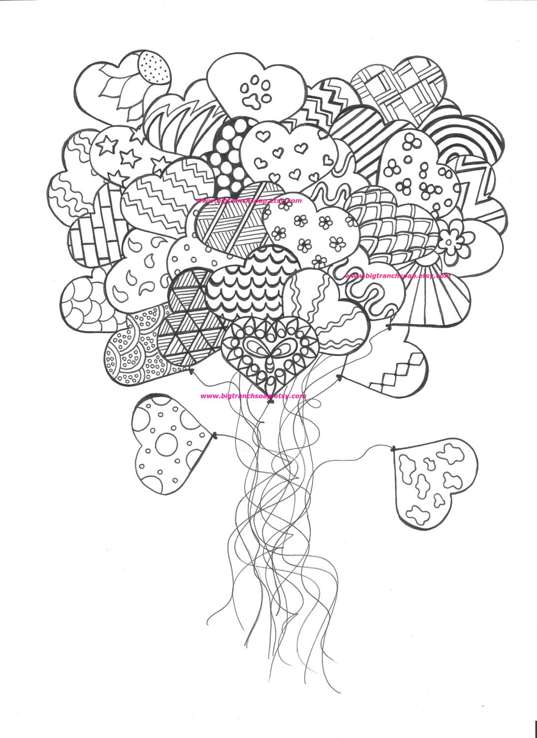 Adult Coloring Page for Grown Ups Heart by BigTRanchSoap ...