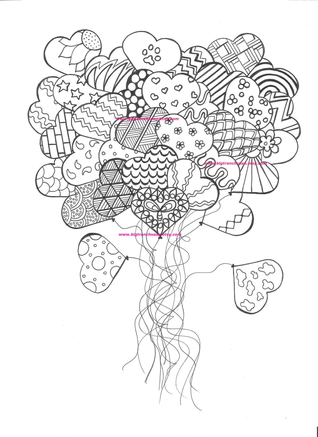 It's just an image of Dramatic Adult Coloring Pages Hearts